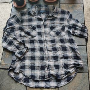 Lucky Brand Plaid Button Down Long Sleeve Pink L